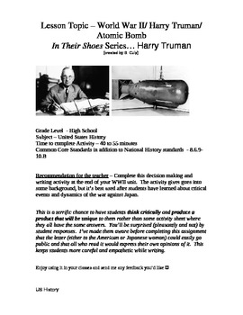 In Their Shoes... Harry Truman and the Atomic Bomb:  A WWI