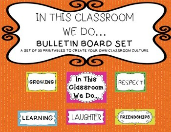 In This Class We Do... Bulletin Board Set (Classroom Culture) Neon Colors