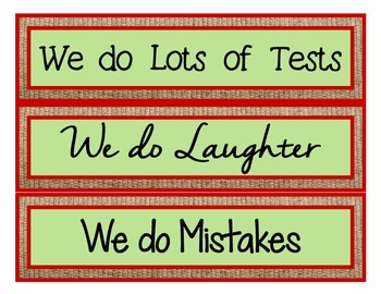 """""""In This Classroom"""" Bulletin Board Signs - Burlap, Green and Red"""