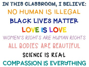 In This Classroom, I Believe: