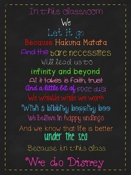 In This Classroom Poster - Disney