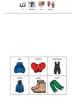 In Winter We Wear Worksheet (Boardmaker PDF)
