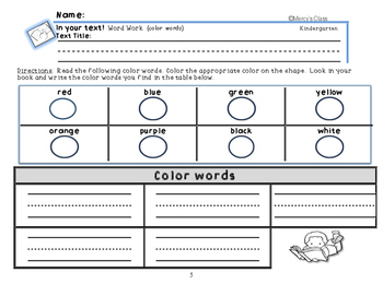 Guided Reading Word Work In Your Text!, Kindergarten