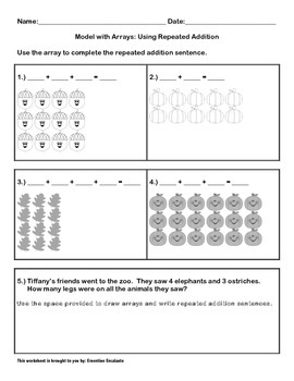 In a Flash Math Sheet - Arrays (Repeated Addition/Multiplication)