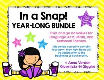 In a Snap! No Prep Activities Year Long BUNDLE!!