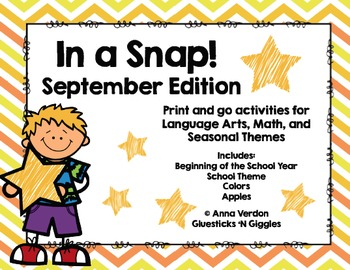In a Snap! No Prep Activities for September