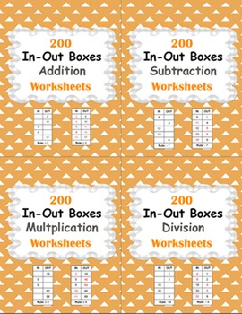 In and Out Boxes Worksheets Bundle