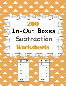 In and Out Boxes - Subtraction Worksheets