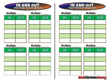 In and Out Fraction Multiplication - 5th Grade Game [CCSS NF.B.4]
