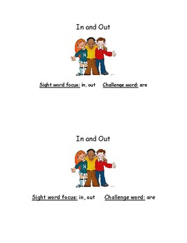 In and Out - Sight Word Reader - Emergent Reader - Guided Reading - Fluency