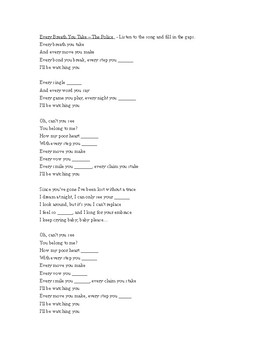 In-class song activity - Every Breath You Take by the Police