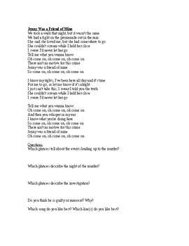 In-class song activity - The Killers (3 songs - The Murder Trilogy)