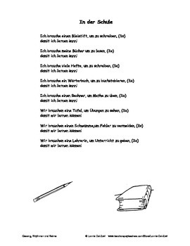 German Musical Chant About School Objects and Imperatives - In der Schule