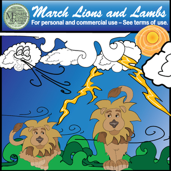 In like a Lion out like a Lamb Clip Art - March Weather Set