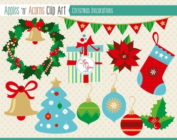Christmas Decorations Clip Art - color and outlines