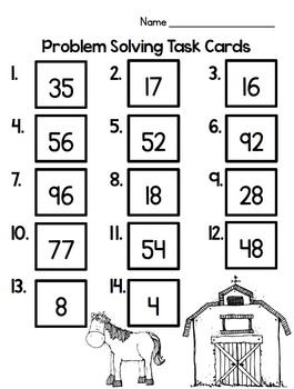 In the Barnyard - Word Problem Task Cards to 100