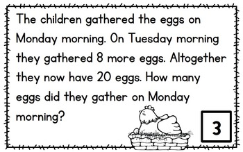 In the Barnyard - Word Problem Task Cards to 20