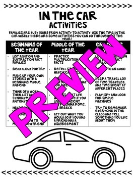 Open House: In the Car Activities and Getting to Know You Forms