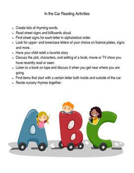 In the Car Reading Activities/ Actividades para leer in el auto