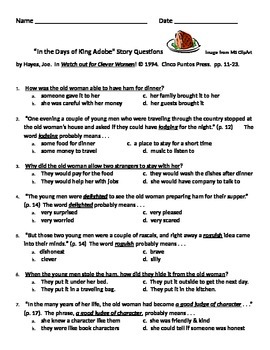 """""""In the Days of King Adobe"""" story questions"""