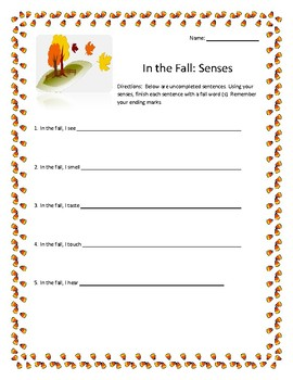 In the Fall: A Fall Themed Writing Activity