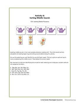 FREE SAMPLE In the Garden Phonological Awareness Pack