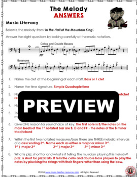 MUSIC ACTIVITIES: 'In the Hall of the Mountain King' Listening Worksheets