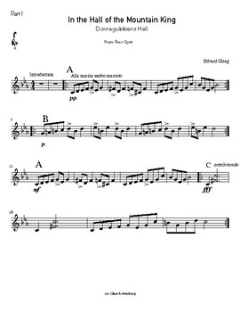 In the Hall of the Mountain King - three-part instrumental arrangement