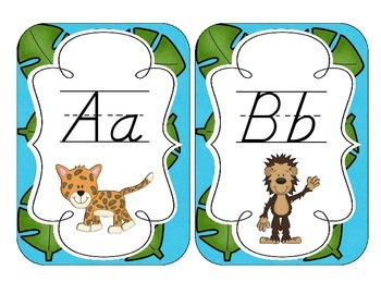 In the Jungle Alphabet Cards: D'Nealian Set