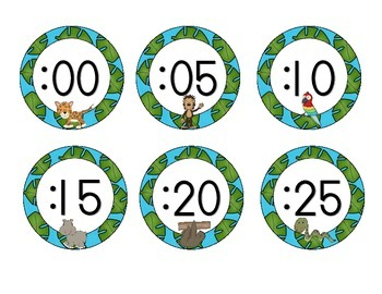 In the Jungle Clock Numbers: Blue Set