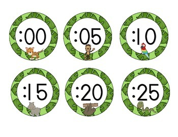 In the Jungle Clock Numbers: Green Set