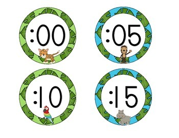 In the Jungle Clock Numbers: Green and Blue Set