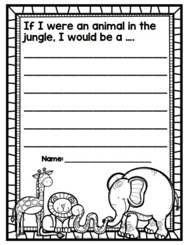 """In the Jungle"" Emergent Reader and Response Page"