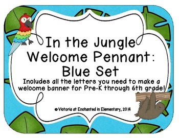 In the Jungle Welcome Pennant: Blue Set