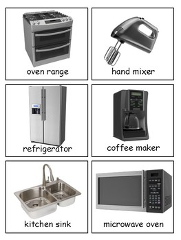 In the Kitchen 3-part cards, Environment Labeling, Utensils and Appliances