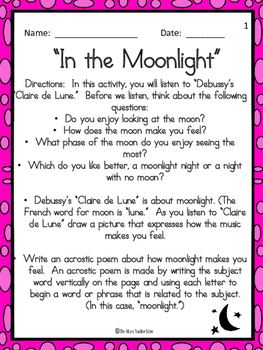 "In the Moonlight (A listening activity for Debussy's ""Clai"