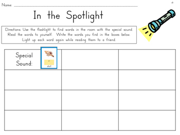 In the Spotlight {Daily 5 Word Work activity using Wonders Phonics Sound Cards}