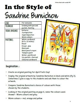 April Fool's : In the Style of Sandrine Burnichon - Art Lesson Plan - Fish