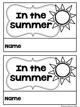 In the Summer Emergent Reader & Build-A-Book {Young ESL, EFL}
