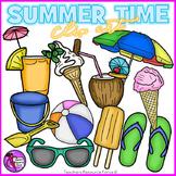 Summer realistic clip art sunglasses, flip flops, bucket, ice cream, umbrella