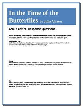 in the time of the butterflies questions