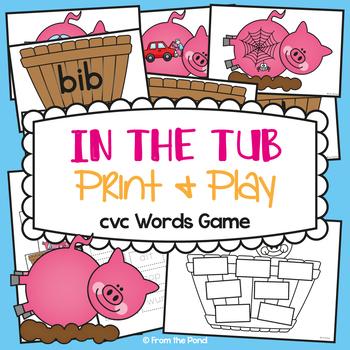 cvc Game - In the Tub - Literacy Game / Center - Suits Mrs Wishy Washy
