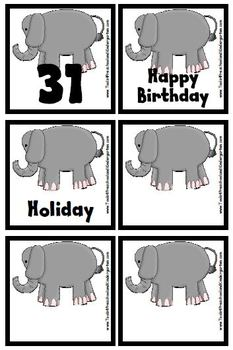 In the Wild Animal Theme Calendar Pieces / Memory Game  Snake Elephant Alligator