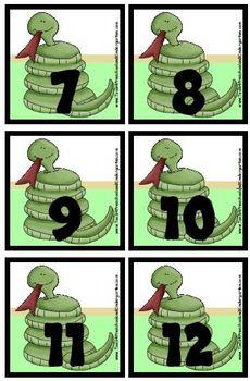 In the Wild Animal Theme Calendar Pieces / Memory Game  Snake Elephant Alligator