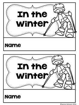 In the Winter Emergent Reader & Build-A-Book {Young Readers, ESL, EFL}