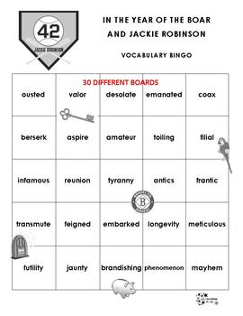 In the Year of the Boar and Jackie Robinson Vocabulary Bingo