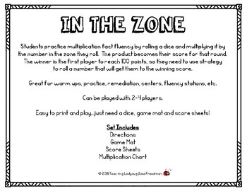 In the Zone ~ Multiplication Fact Fluency Practice Game  Print & Play
