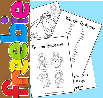 In the seasons emergent reader freebie