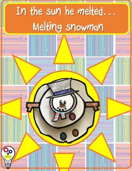 In the sun he melted. Melting Snowman  craft and writing