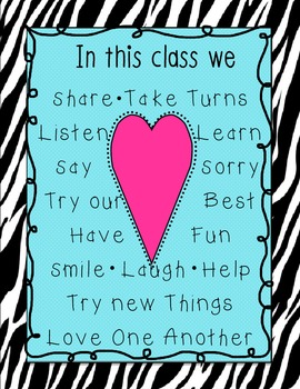 In this class... Zebra Poster